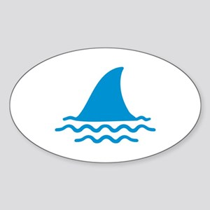 Blue shark fin Sticker (Oval)